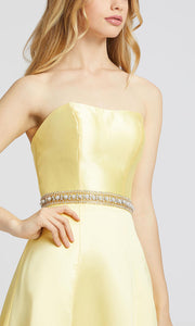 Mac Duggal - 67687L Strapless Satin A-Line Dress In Yellow