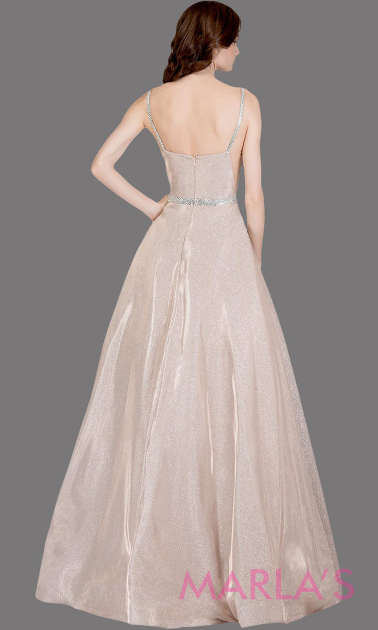 Back of Long metallic rose gold semi ball gown with low back. This champagne formal high neck ballgown is perfect as a gold prom dress, wedding reception or engagement dress, indowestern formal party gown, fancy wedding guest dress.Plus Sizes avail
