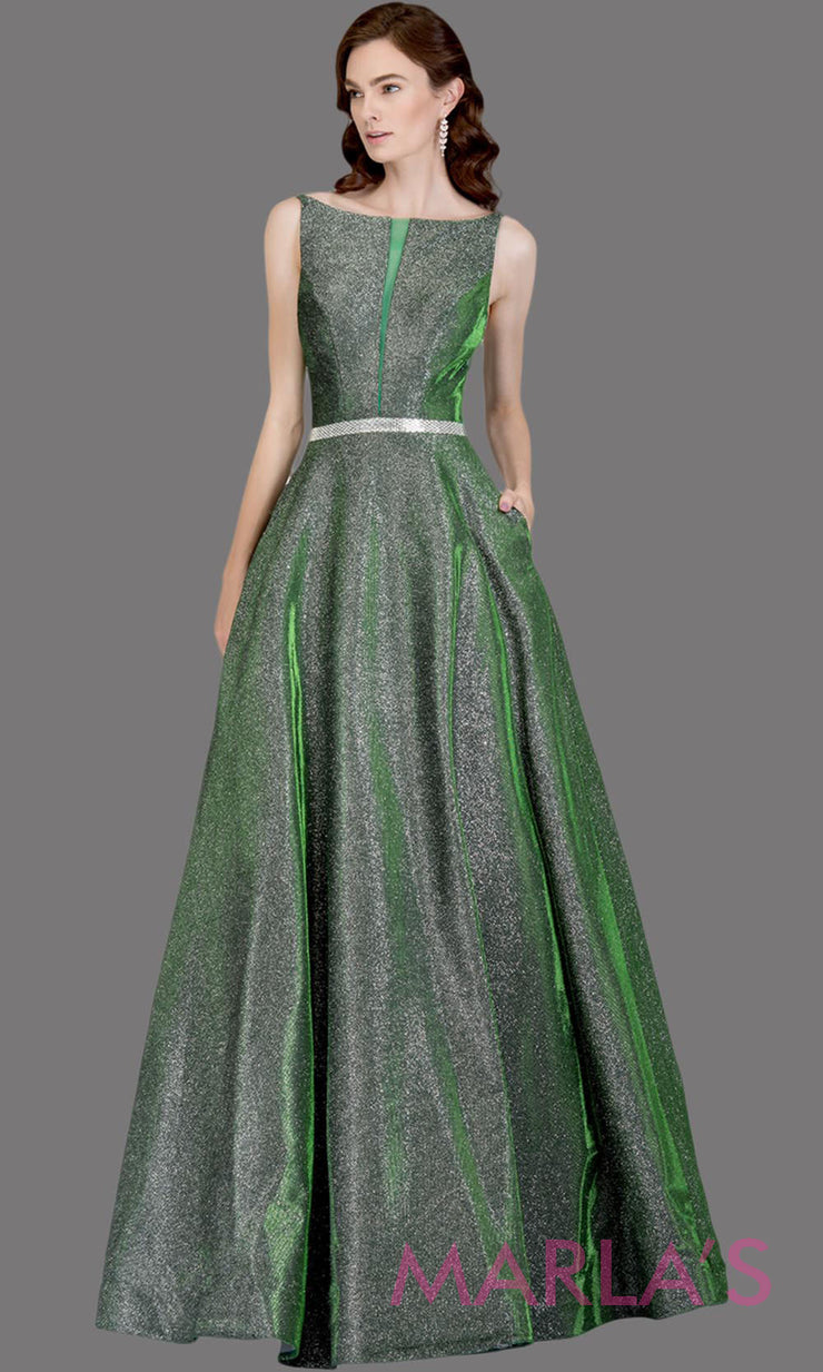 Long metallic emerald green semi ball gown with low back. This green formal high neck ballgown is perfect as a green prom dress, wedding reception or engagement dress, indowestern formal party gown, fancy wedding guest dress.Plus Sizes avail