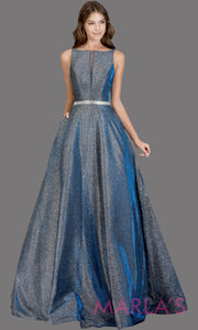 Long metallic royal silver semi ball gown with low back.This dark royal formal high neck ballgown is perfect as a gold prom dress, wedding reception or engagement dress, indowestern formal party gown, fancy wedding guest dress.Plus Sizes avail