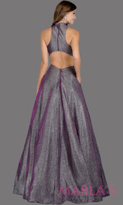 Back of Long metallic plum silver semi ball gown with open back. This purple formal halter ballgown is perfect as a shiny prom dress, wedding reception or engagement dress, indowestern formal party gown, fancy wedding guest dress.Plus Sizes avail