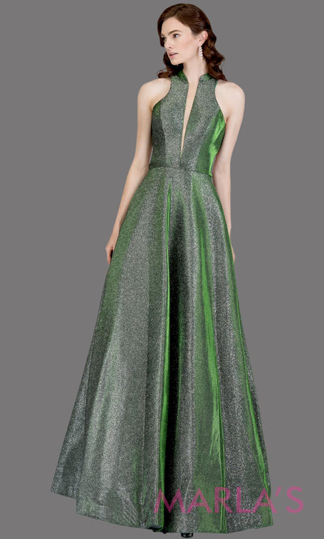 e5829188024 Long metallic emerald green semi ball gown with open back. This green formal  halter ballgown