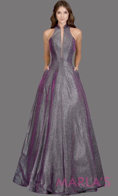 Long metallic plum silver semi ball gown with open back. This purple formal halter ballgown is perfect as a shiny prom dress, wedding reception or engagement dress, indowestern formal party gown, fancy wedding guest dress.Plus Sizes avail