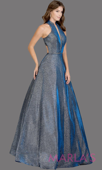 Long metallic royal silver semi ball gown with open back. This royal blue formal halter ballgown is perfect as a shiny prom dress, wedding reception or engagement dress, indowestern formal party gown, fancy wedding guest dress.Plus Sizes avail