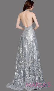 Back of Long sequin beaded silver gray semi ball gown w/low back.This silver grey formal halter ballgown is perfect as a gray prom dress, wedding reception or engagement dress, indowestern formal party gown, fancy wedding guest dress.Plus Sizes avail