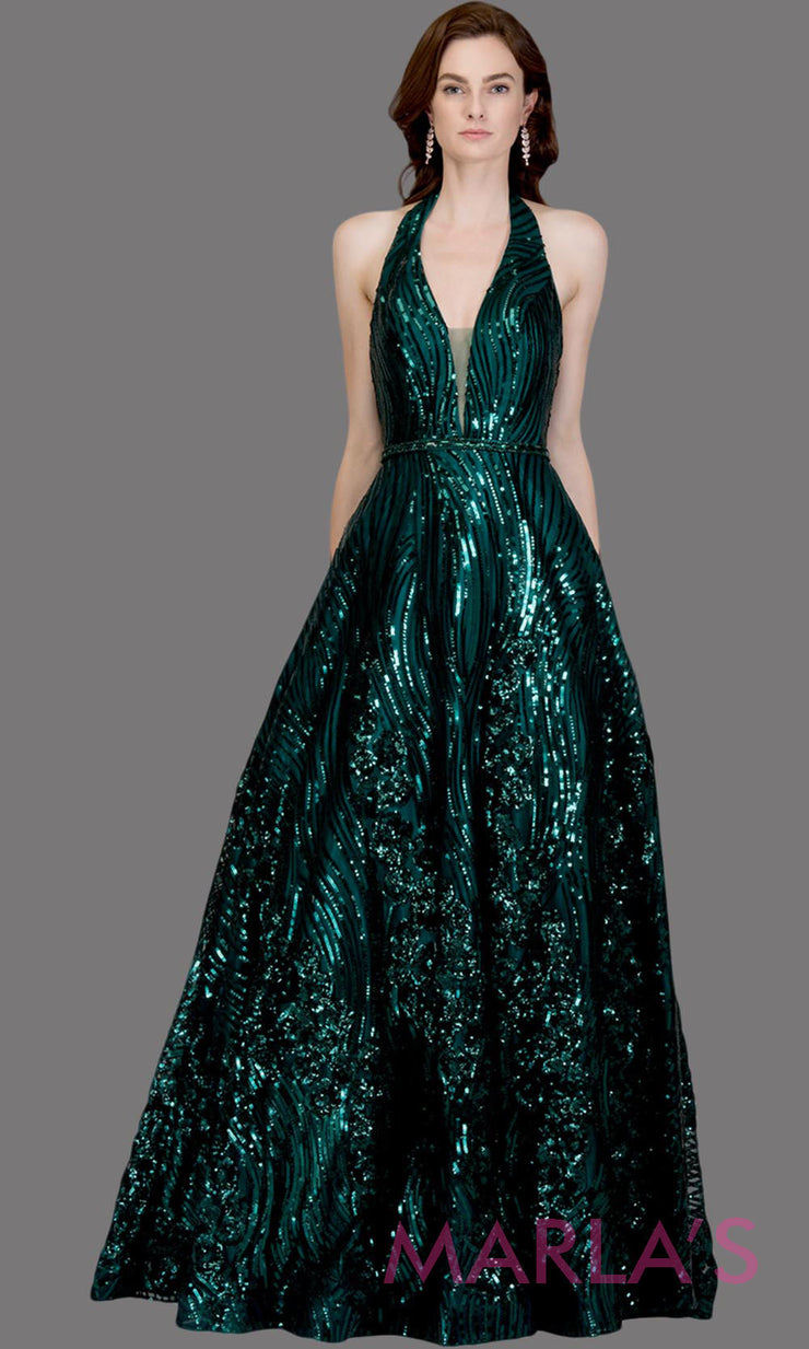 Long sequin beaded emerald green semi ball gown w/low back.This dark green formal halter ballgown is perfect as a green prom dress, wedding reception or engagement dress,indowestern formal party gown, fancy wedding guest dress.Plus Sizes avail