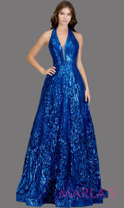 Long sequin beaded royal blue semi ball gown w/low back.This bright blue formal halter ballgown is perfect as a blue prom dress, wedding reception or engagement dress, indowestern formal party gown, fancy wedding guest dress. Plus Sizes avail