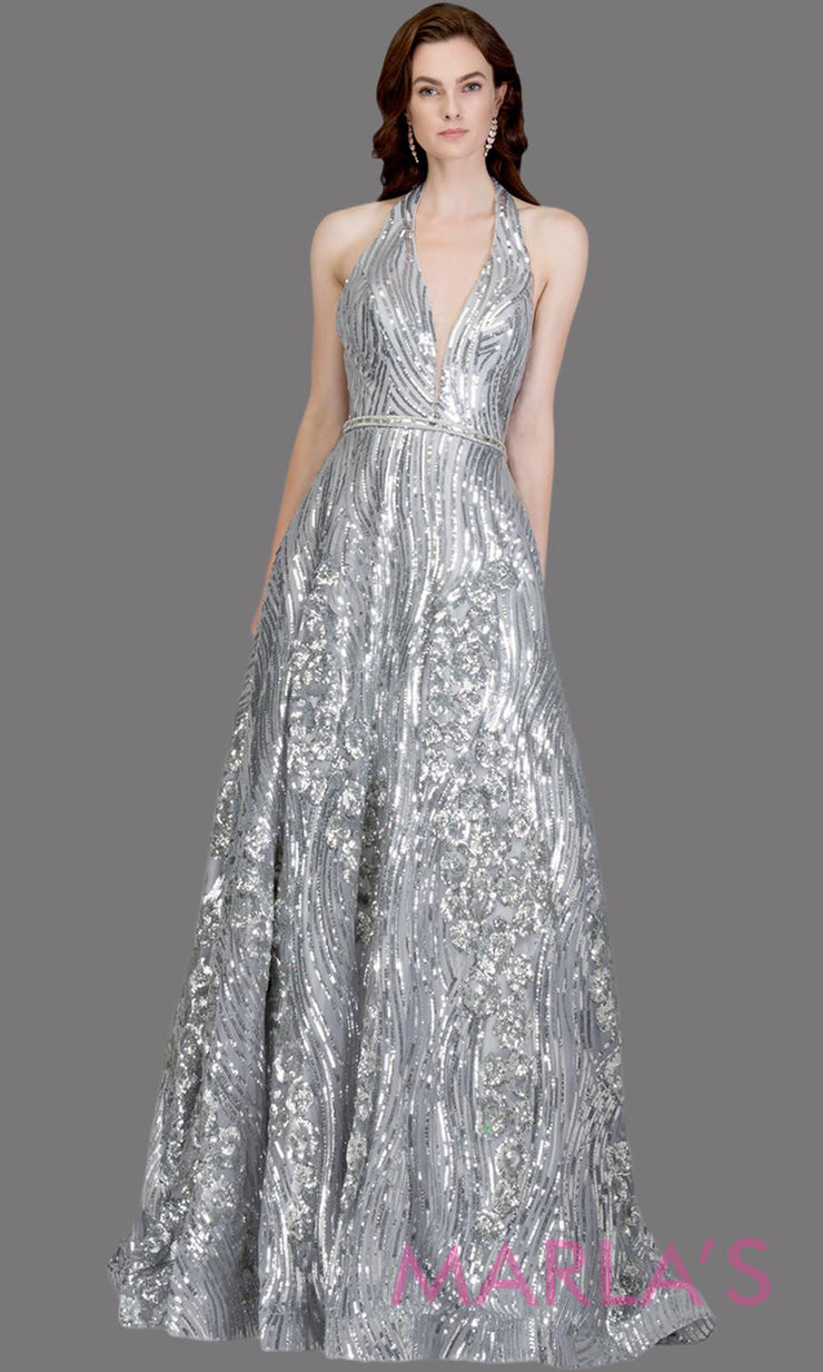 Long sequin beaded silver gray semi ball gown w/low back.This silver grey formal halter ballgown is perfect as a gray prom dress, wedding reception or engagement dress, indowestern formal party gown, fancy wedding guest dress.Plus Sizes avail