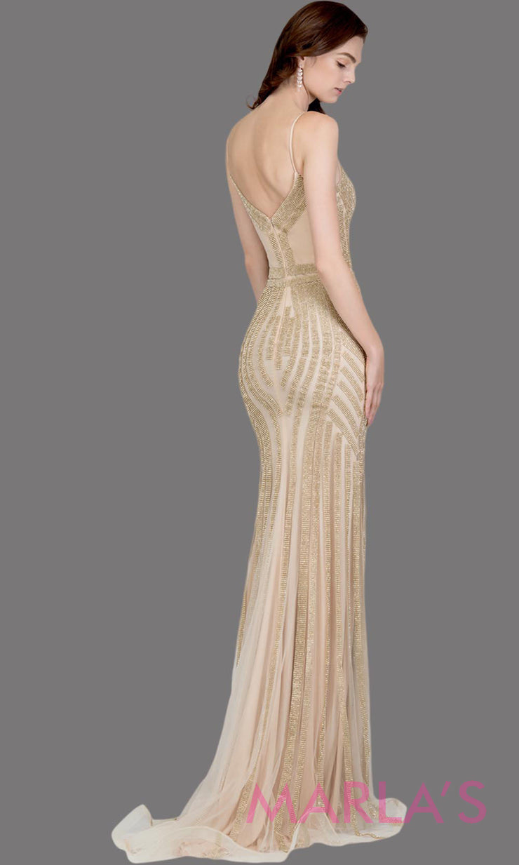Back of Long fitted gold beaded evening dress with straps. This tight fitted sequin champagne evening gown is great as a prom dress, wedding reception or engagement dress, indowestern gold party evening dress, formal wedding guest.Plus sizes avail