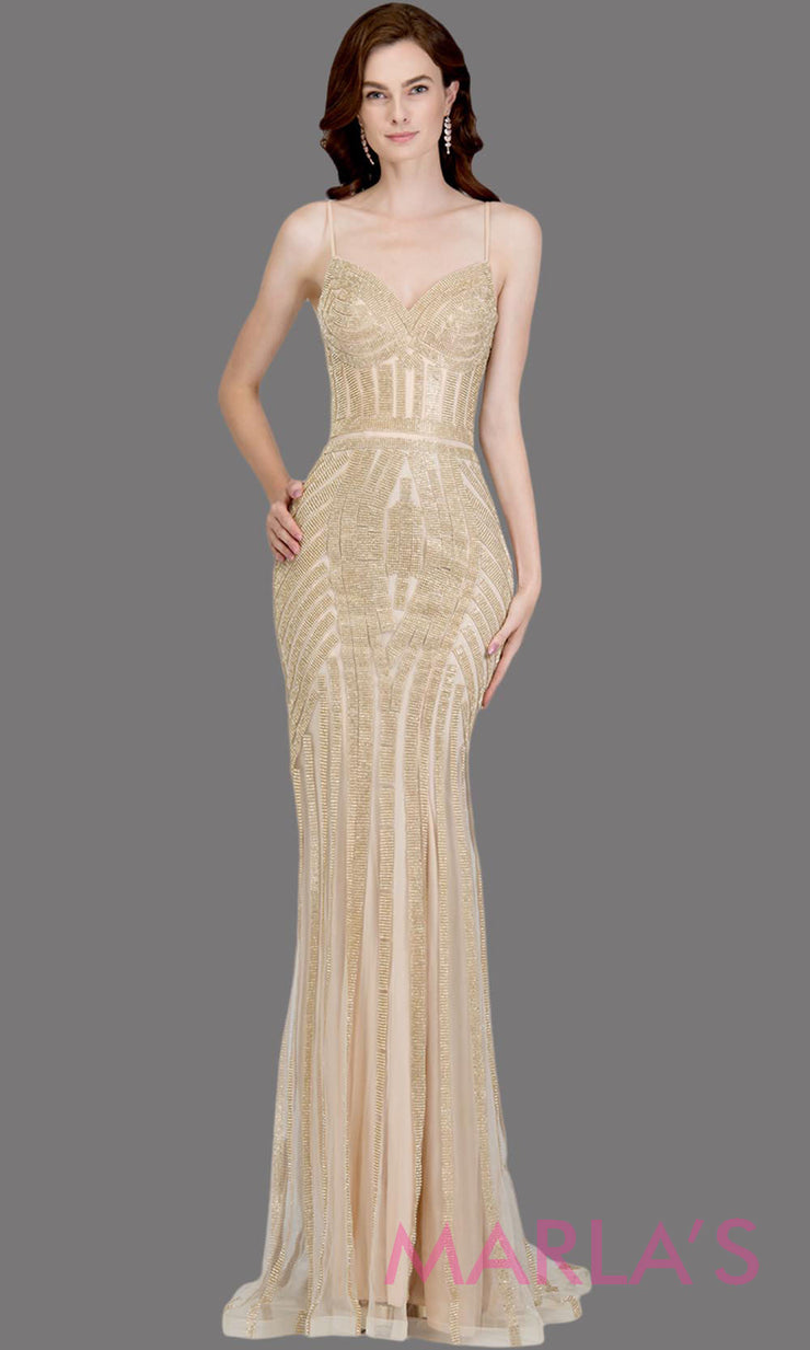 Long fitted gold beaded evening dress with straps. This tight fitted sequin champagne evening gown is great as a prom dress, wedding reception or engagement dress, indowestern gold party evening dress, formal wedding guest.Plus sizes avail