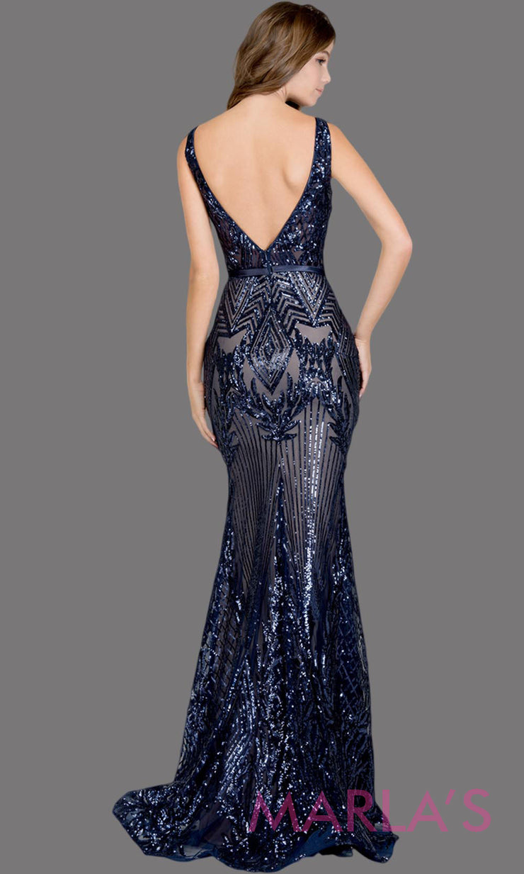 Back of Long navy blue fitted beaded mermaid evening gown w/low back. This high neck evening gown is perfect as prom dress, wedding reception or engagement dress, formal wedding guest dress, dark blue indowestern formal evening gown. Plus sizes avail