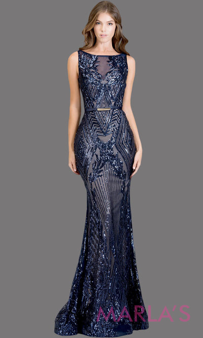 Long navy blue fitted beaded mermaid evening gown w/low back. This high neck evening gown is perfect as prom dress, wedding reception or engagement dress, formal wedding guest dress, dark blue indowestern formal evening gown. Plus sizes avail