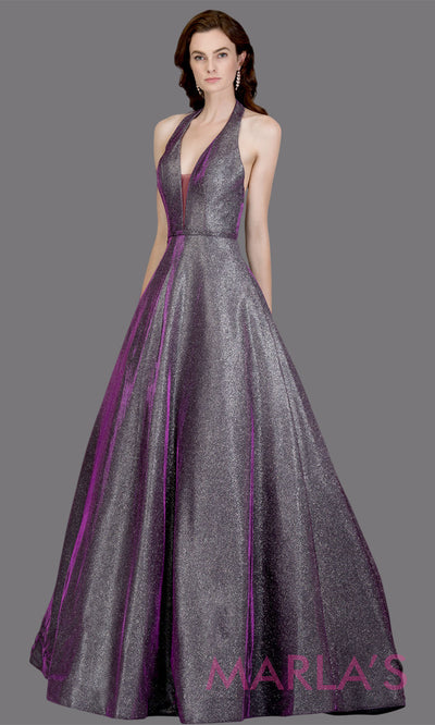 Long halter plum metallic semi ball gown. This shiny low back a-line evening gown is perfect for wedding reception or engagement dress, prom dress, formal wedding guest gown, indowestern formal party gown. Plus sizes avail
