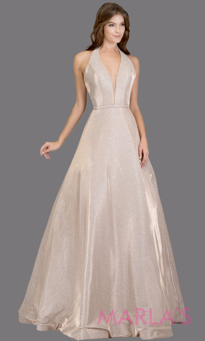 Long halter rose gold metallic semi ball gown. This shiny champagne gold low back a-line evening gown is perfect for wedding reception or engagement dress, prom dress, formal wedding guest gown, indowestern formal party gown. Plus sizes avail