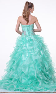 Cinderella Divine - 6782 Strapless Ruffled Ballgown In Green