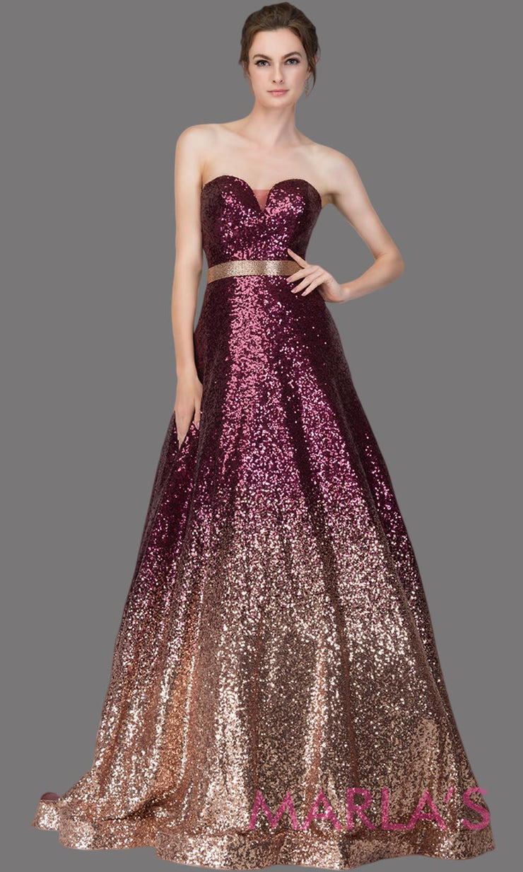 Long sequin beaded burgundy & gold ombre semi ball gown. This shaded beaded formal strapless ballgown is perfect as a prom dress, wedding reception or engagement dress, indowestern formal party gown, fancy wedding guest dress. Plus Sizes avail