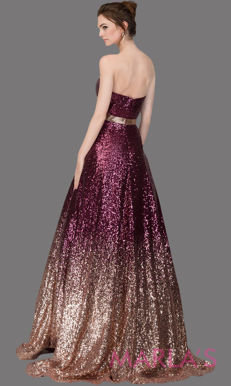 Back Long sequin beaded burgundy & gold ombre semi ball gown. This shaded beaded formal strapless ballgown is perfect as a prom dress, wedding reception or engagement dress, indowestern formal party gown, fancy wedding guest dress. Plus Sizes avail