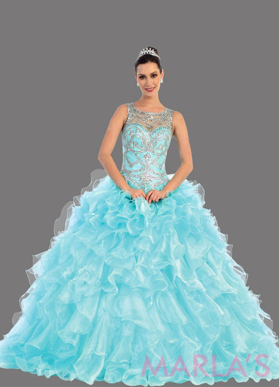 Long aqua blue high neck princess quinceanera ball gown with rhinestone beading and ruffled skirt. Perfect for Engagement dress, Quinceanera, Sweet 16, Sweet 15 and pink Wedding Reception Dress. Available in plus sizes