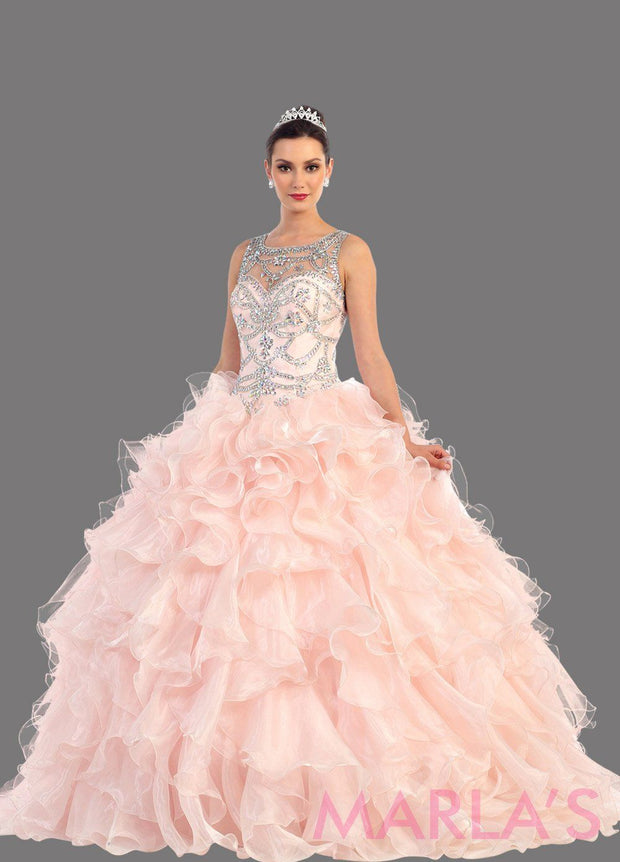 Long blush pink high neck princess quinceanera ball gown with rhinestone beading and ruffled skirt. Perfect for Engagement dress, Quinceanera, Sweet 16, Sweet 15 and pink Wedding Reception Dress. Available in plus sizes