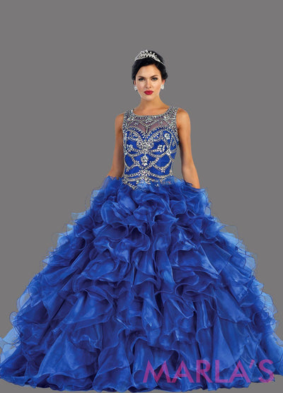 Long royal blue high neck princess quinceanera ball gown with rhinestone beading and ruffled skirt. Perfect for Engagement dress, Quinceanera, Sweet 16, Sweet 15 and pink Wedding Reception Dress. Available in plus sizes