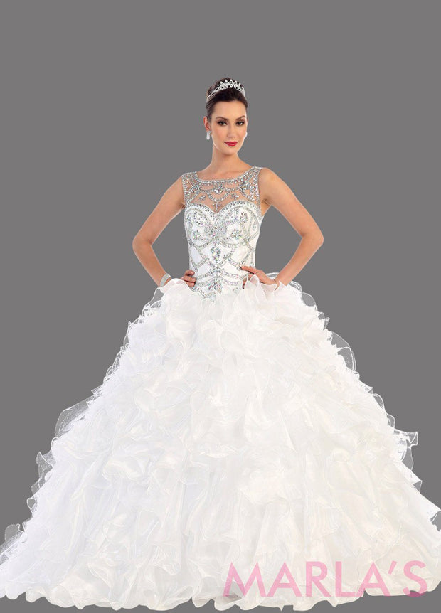 Long white high neck princess quinceanera ball gown with rhinestone beading and ruffled skirt. Perfect for Engagement dress, Quinceanera, Sweet 16, Sweet 15 and pink Wedding Reception Dress. Available in plus sizes