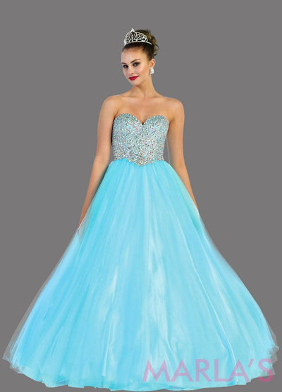 Long aqua blue strapless princess quinceanera ball gown with rhinestone beading. Perfect light blue dress for Engagement dress, Quinceanera, Sweet 16, Sweet 15 and pink Wedding Reception Dress. Available in plus sizes