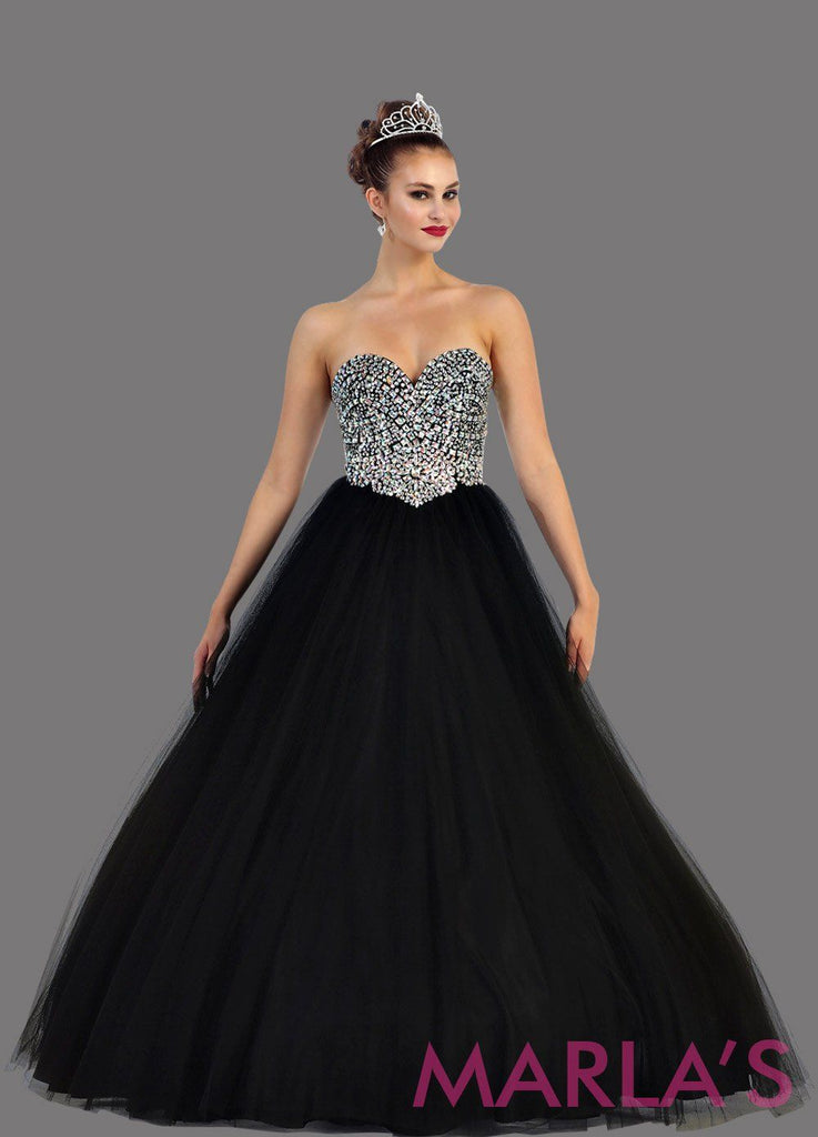 9cacb90d21f Long black strapless princess quinceanera ball gown with rhinestone  beading. Perfect black dress for Engagement ...