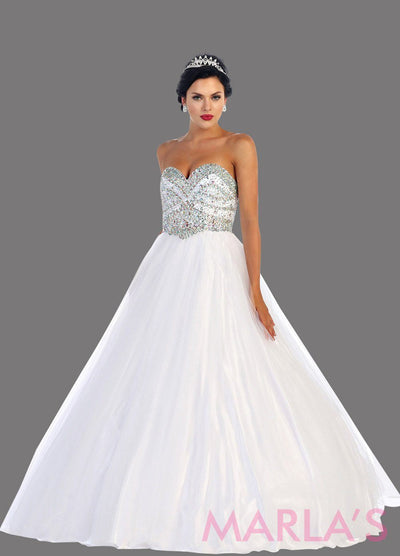 Long white strapless princess quinceanera ball gown with rhinestone beading. Perfect white dress for wedding or bridal dress, Quinceanera, Sweet 16, Sweet 15 and pink Wedding Reception Dress. Available in plus sizes