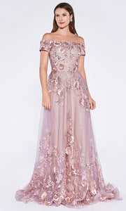 Cinderella Divine - 7051 Floral Appliqued Tulle Gown In Mauve