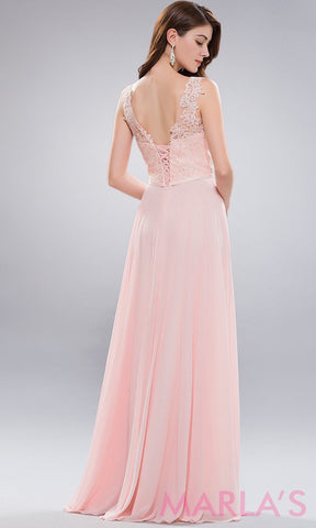 Back of long blush pink high neck dress with lace bodice and flowy chiffon skirt. This is a stunning simple pink prom dress, bridesmaid dress, summer wedding guest, plus size flowy dress.