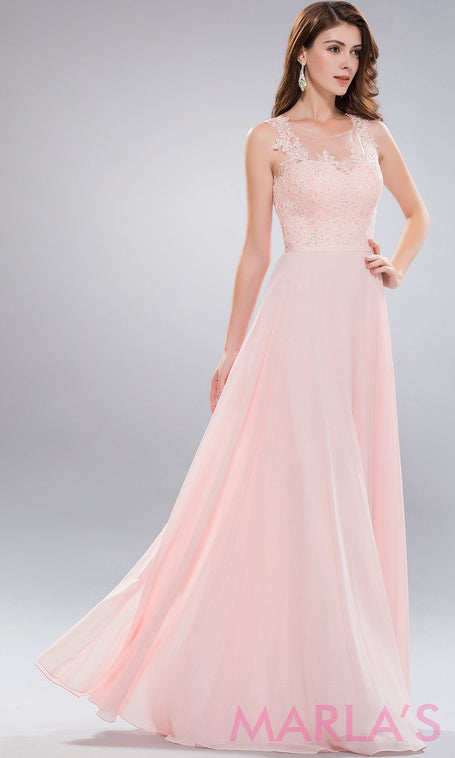 Long blush pink high neck dress with lace bodice and flowy chiffon skirt.  This is 1cfbcff0b