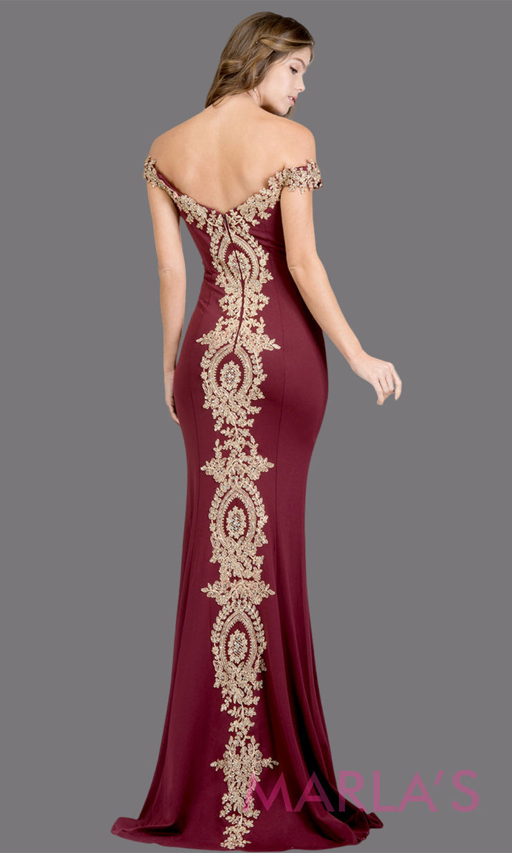 Back of Long off shoulder fitted burgundy red mermaid evening gown w gold lace detail. This black evening dress features a train with gold lace. Perfect as a prom dress, wedding reception or engagement dress,indowestern formal party dress. Plus size