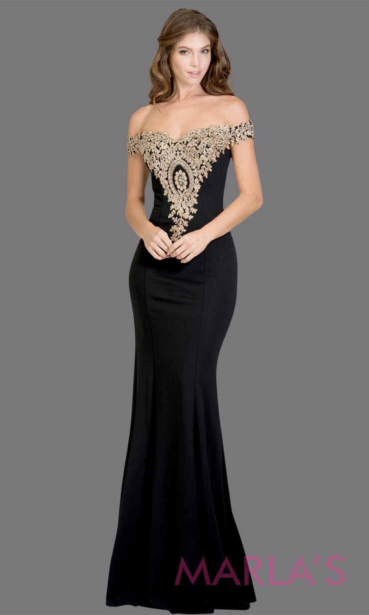 Long off shoulder fitted black mermaid evening gown with gold lace detail. This black evening dress features a train with gold lace. Perfect as a black prom dress, wedding reception or engagement dress,indowestern formal party dress. Plus size