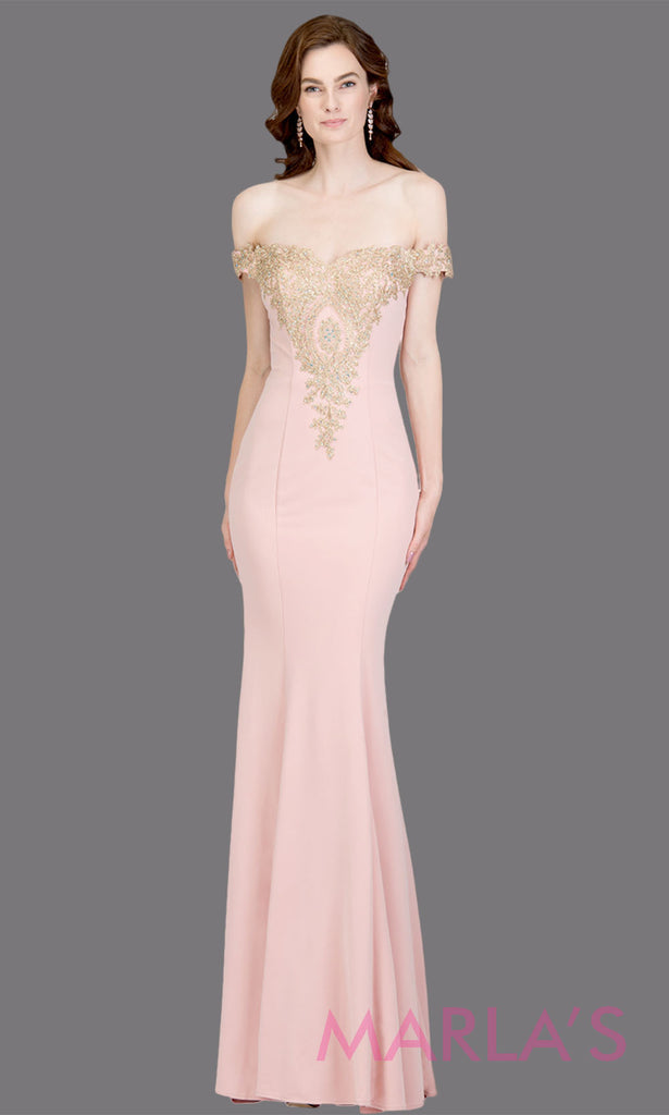 d52130c90988 Long off shoulder fitted blush mermaid evening gown with gold lace detail.