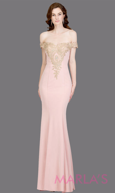 Long off shoulder fitted blush mermaid evening gown with gold lace detail. This pink evening dress features a train with gold lace. Perfect as a black prom dress, wedding reception or engagement dress,indowestern formal party dress. Plus size