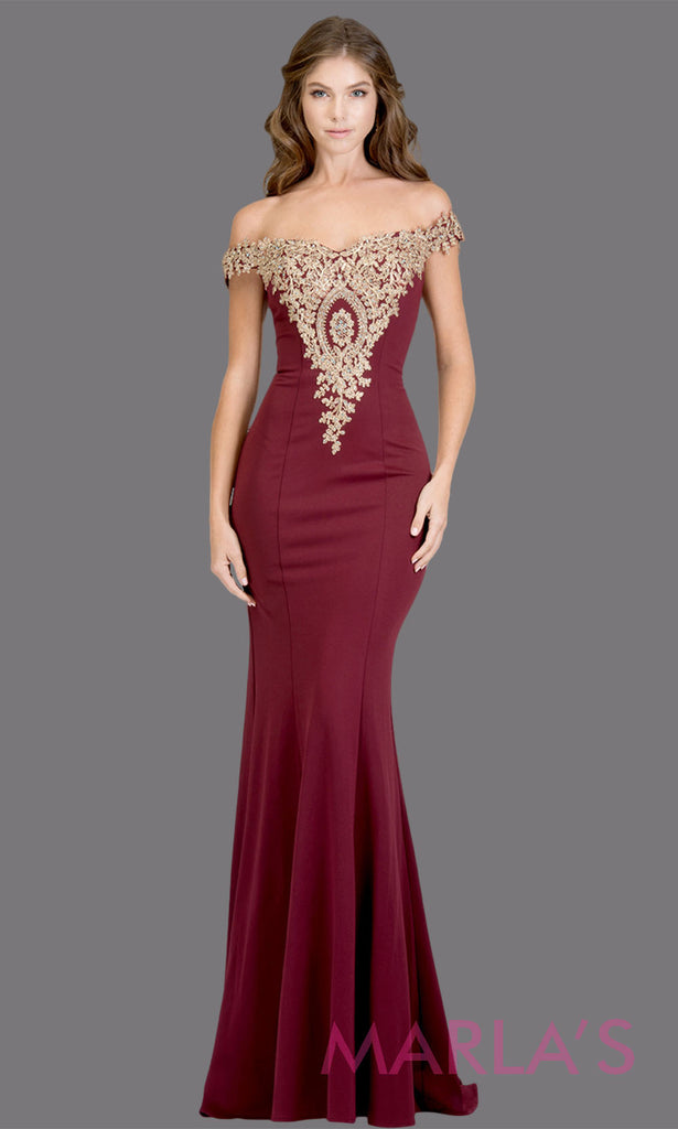 0a8910f52e12 Long off shoulder fitted burgundy red mermaid evening gown w gold lace  detail.