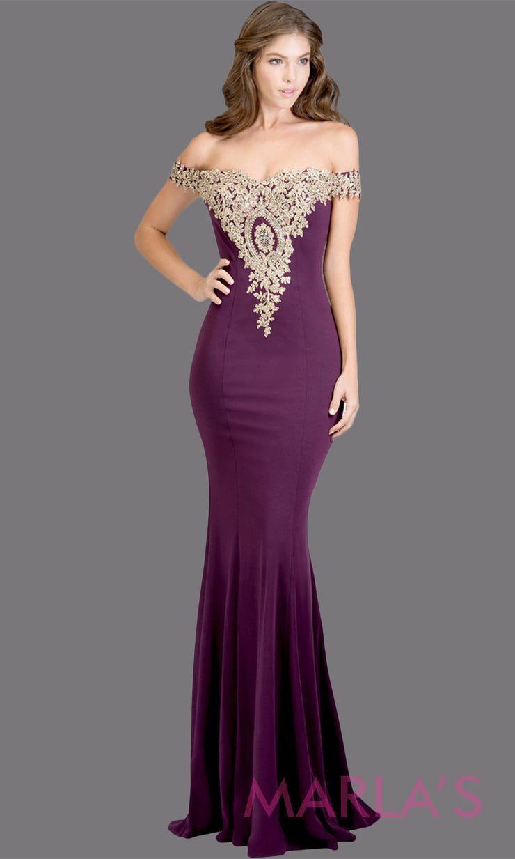 Long off shoulder fitted dark purple mermaid evening gown w gold lace detail. This purple evening dress features a train with gold lace. Perfect as a prom dress, wedding reception or engagement dress,indowestern formal party dress. Plus size