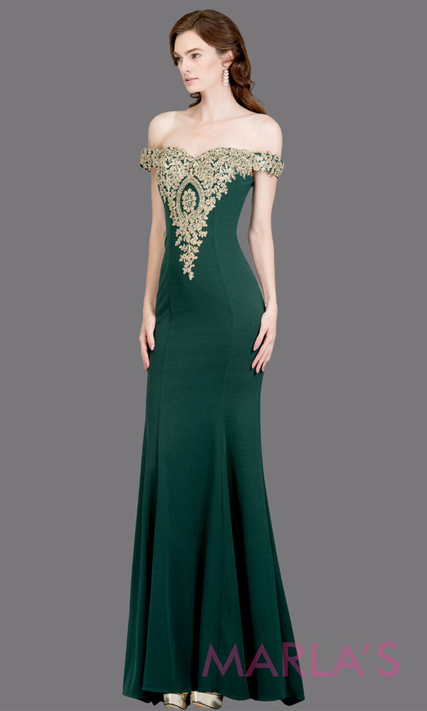 204d4d49800 Long off shoulder fitted emerald green mermaid evening gown w gold lace  detail.