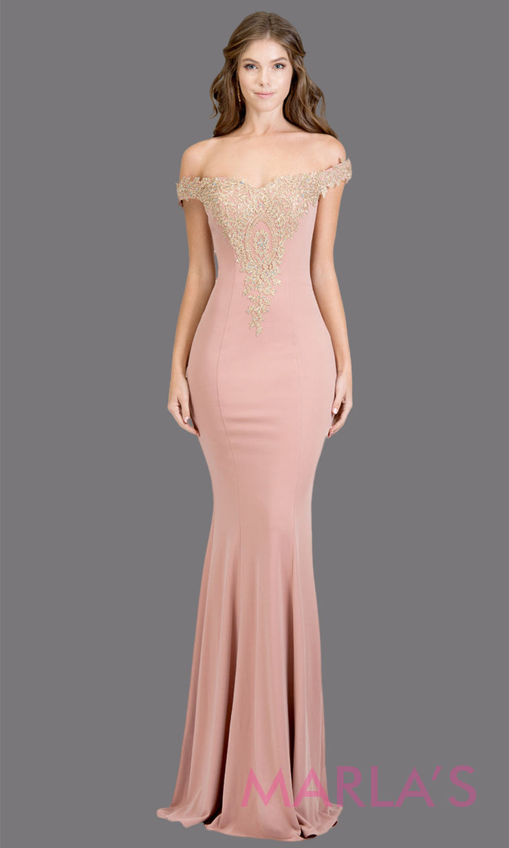 Long off shoulder fitted mauve mermaid evening gown w gold lace detail. This mocha pink evening dress features a train with gold lace. Perfect as a prom dress, wedding reception or engagement dress,indowestern formal party dress. Plus size