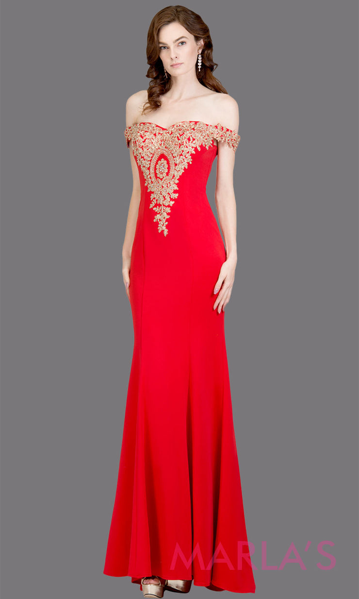 Long off shoulder fitted red mermaid evening gown w gold lace detail. This red evening dress features a train with gold lace. Perfect as a prom dress, wedding reception or engagement dress,indowestern formal party dress. Plus size