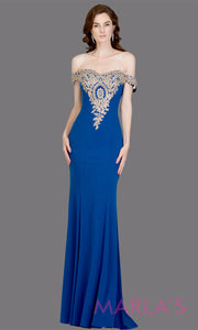 Long off shoulder fitted royal blue mermaid evening gown w gold lace detail. This blue evening dress features a train with gold lace. Perfect as a prom dress, wedding reception or engagement dress,indowestern formal party dress. Plus size