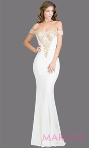Long off shoulder fitted white mermaid evening gown w gold lace detail. This white evening dress features a train with gold lace. Perfect as a prom dress, bridal, wedding reception or engagement dress,indowestern formal party dress. Plus size