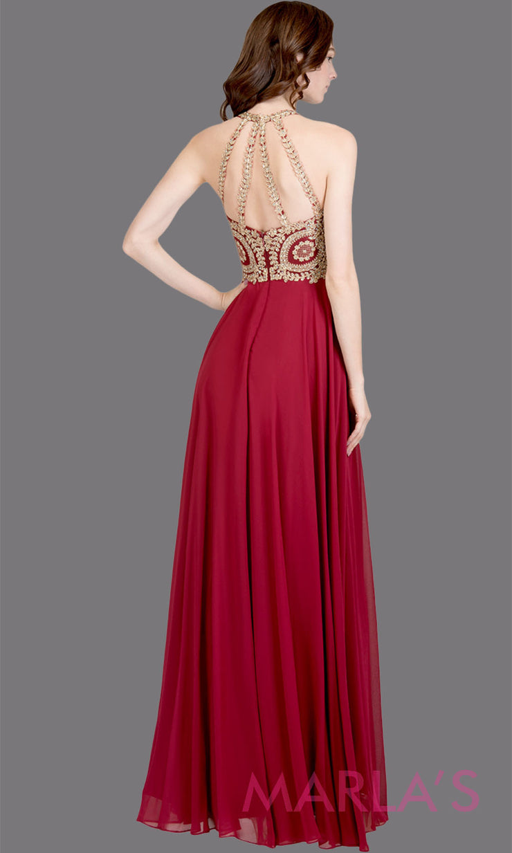 Back of Long high neck burgundy red flowy dress with gold lace top & low back. This dark red a-line gown is perfect as a maroon prom dress, formal wedding guest dress, formal bridesmaid dress, indowestern deep red formal party dress. Plus sizes avail