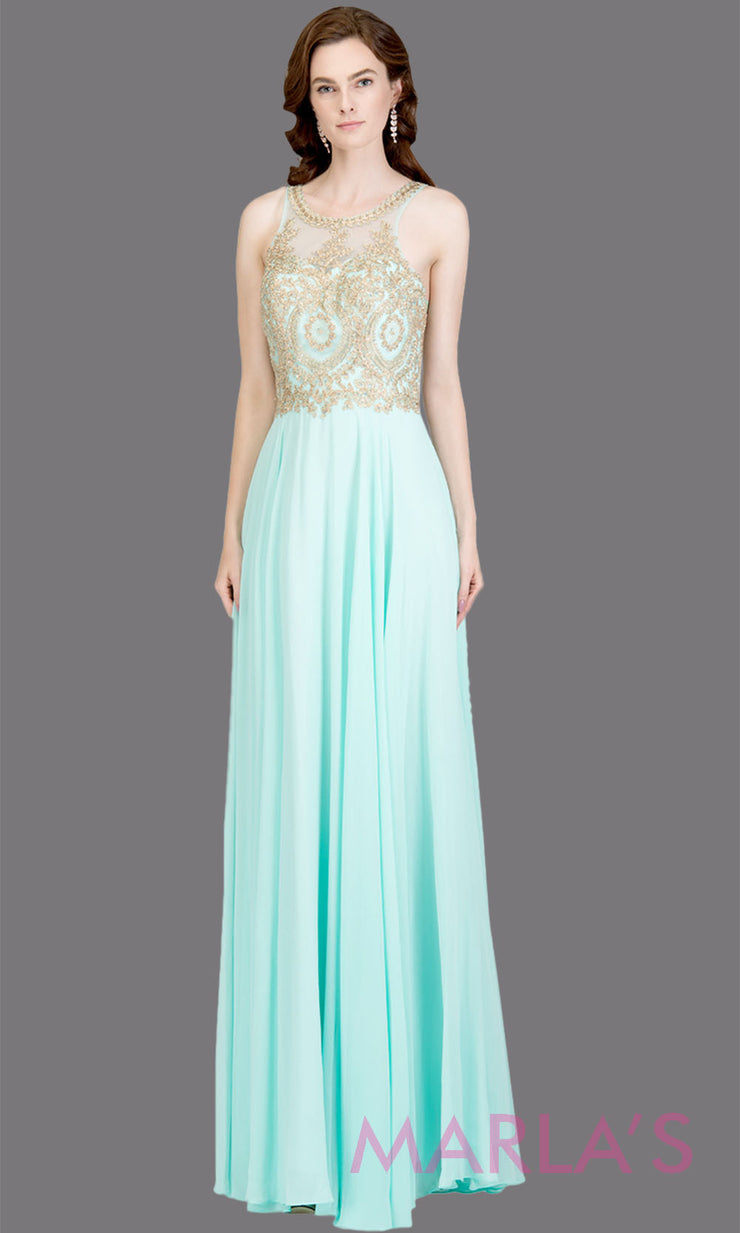 Long high neck aqua blue flowy dress with gold lace top & low back. This light blue a-line gown is perfect as a blue prom dress, formal wedding guest dress, formal bridesmaid dress, indowestern aqua blue formal party dress. Plus sizes avail