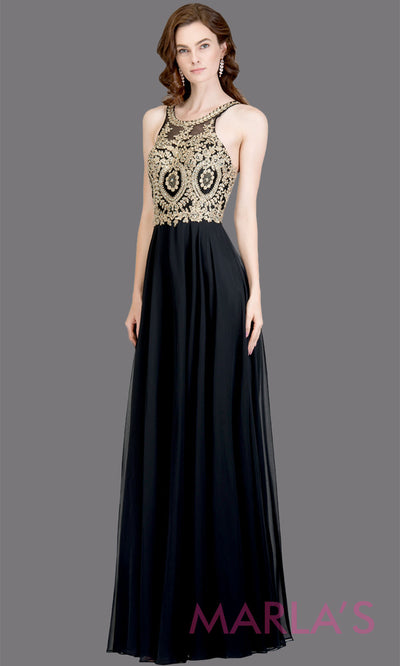 Long high neck black flowy dress with gold lace top & low back. This black a-line gown is perfect as a black prom dress, formal wedding guest dress, formal bridesmaid dress, indowestern black formal party dress. Plus sizes avail