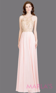 Long high neck blush pink flowy dress with gold lace top & low back. This light pink a-line gown is perfect as a pink prom dress, formal wedding guest dress, formal bridesmaid dress, indowestern light pink formal party dress. Plus sizes avail