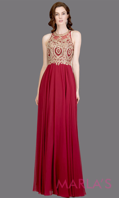 Long high neck burgundy red flowy dress with gold lace top & low back. This dark red a-line gown is perfect as a maroon prom dress, formal wedding guest dress, formal bridesmaid dress, indowestern deep red formal party dress. Plus sizes avail