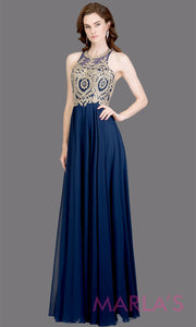 Long high neck navy blue flowy dress with gold lace top & low back.This dark blue a-line gown is perfect as a blue prom dress, formal wedding guest dress, formal bridesmaid dress,indowestern dark blue formal party dress. Plus sizes avail