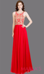 Long high neck red flowy dress with gold lace top & low back.This red a-line gown is perfect as a red prom dress, formal wedding guest dress, formal bridesmaid dress, indowestern red formal party dress. Plus sizes avail