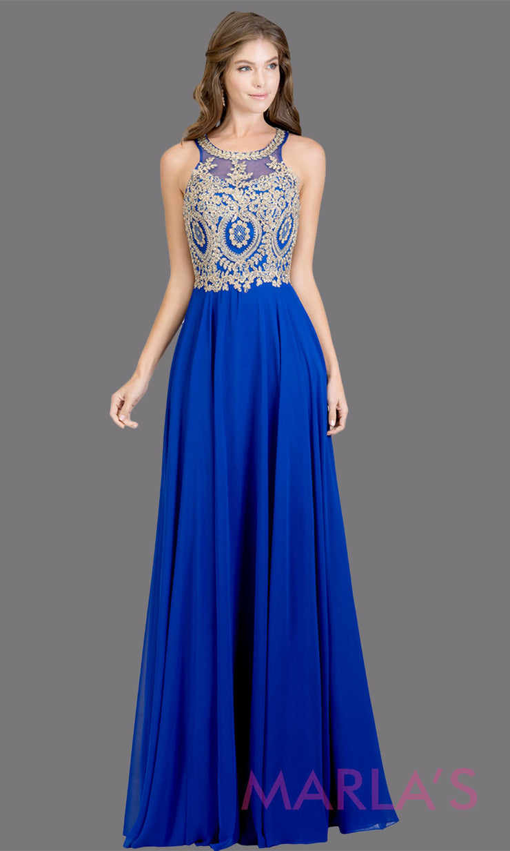 Long high neck royal blue flowy dress with gold lace top & low back.This royal blue a-line gown is perfect as a blue prom dress,formal wedding guest dress, formal bridesmaid dress,indowestern royal blue formal party dress. Plus sizes avail